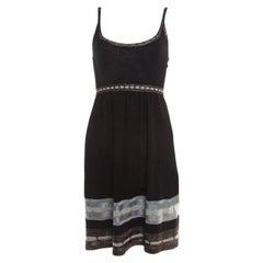 M Missoni Black Knit Contrast Metallic Trim Detail Sleeveless Dress S