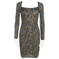 M Missoni Blue Floral Jacquard Lurex Knit Long Sleeve Cross Back Mini Dress S
