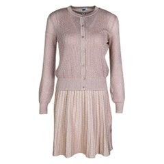 M Missoni Blush Pink Lurex Knit Patterned Dress and Perforated Cardigan Set M
