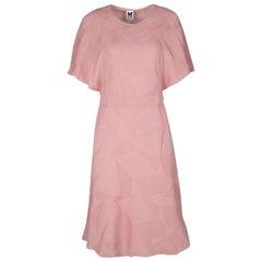 M Missoni Blush Pink Textured Jacquard Knit Batwing Sleeve Midi Dress M
