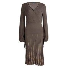 M Missoni Brown Wool Long Sleeve Sweater Dress L