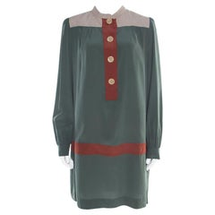 M Missoni Colorblock Silk Long Sleeve Paneled Shift Dress L