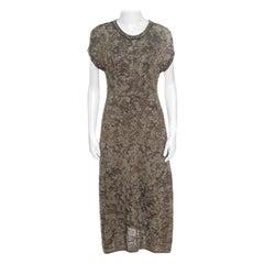 M Missoni Dull Gold and Black Lurex Knit Short Sleeve Midi Dress L
