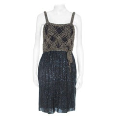 M Missoni Gold Crochet Detail Short Dress S