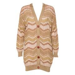 M Missoni Gold Lurex Knit Wave Pattern Button Front Cardigan L