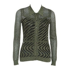 M Missoni Green Crochet Knit Metallic Weave Collared Cardigan S