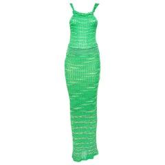 M Missoni Green Patterned Knit Twist Neck Detail Maxi Dress S