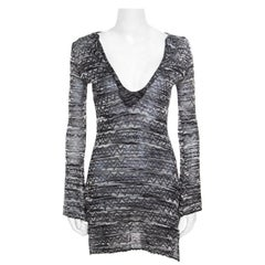 M Missoni Monochrome Chevron Patterned Perforated Knit Flared Sleeve Tunic S