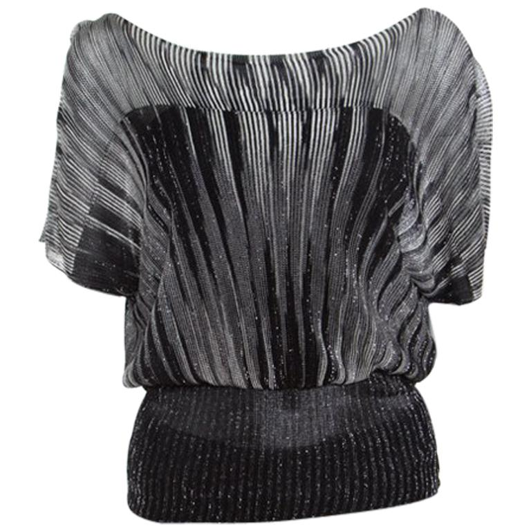 b5290d2c256fd8 M Missoni Monochrome Lurex Knit Dolman Sleeve Top S For Sale at 1stdibs