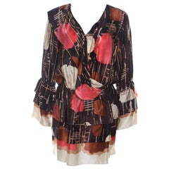 M Missoni Multicolor Abstract Print Silk Drop Waist Tiered Dress S