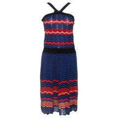 M Missoni Multicolor Chevron Knit Sleeveless Dress M
