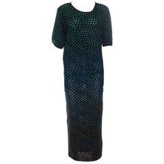 M Missoni Multicolor Dobby Knit Short Sleeve Maxi Dress S