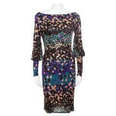 M Missoni Multicolor Dot Printed Stretch Knit Scoop Back Dress S