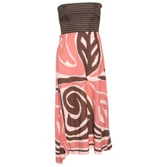 M Missoni Multicolor Knit Ribbed Bodice Detail Strapless Dress L