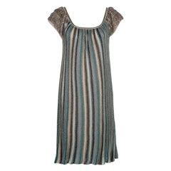 M Missoni Multicolor Lurex Knit Fringed Sleeve Dress S