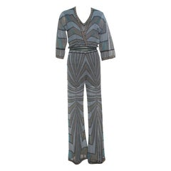M Missoni Multicolor Lurex Knit Jumpsuit and Wrap Cardigan Set S
