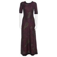 M Missoni Multicolor Lurex Knit Short Sleeve Maxi Dress S