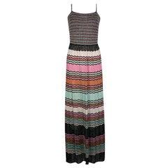 M Missoni Multicolor Lurex Knit Sleeveless Maxi Dress M