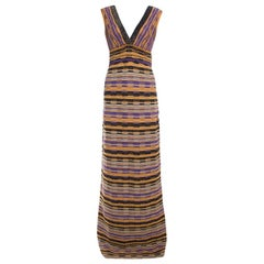 M Missoni Multicolor Lurex Patterned Knit Plunge Neck Maxi Dress M