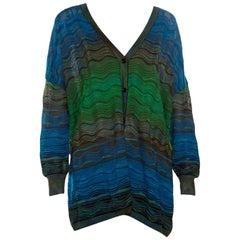 M Missoni Multicolor Patterned Knit Oversized Cardigan M