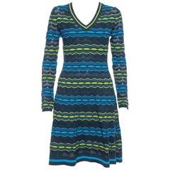 M Missoni Multicolor Perforated Knit Fit & Flare Midi Dress M