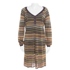M Missoni Multicolor Perforated Patterned Knit Dress L