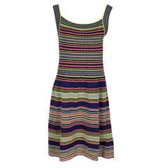 M Missoni Multicolor Textured Striped Knit Sleeveless Dress M