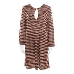 M Missoni Peach and Black Lurex Knit Long Sleeve Tunic Dress L