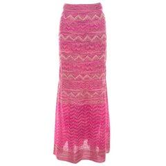 M Missoni Pink Lurex Knit Chevron Paneled Maxi Skirt S