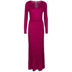 M Missoni Pink Patterned Knit Long Sleeve Maxi Dress M