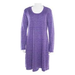 M Missoni Purple Chevron Pattern Perforated Knit Long Sleeve Dress L