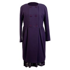 M Missoni Purple Knit Dress and Wool Coat Set Suit Size 44 IT