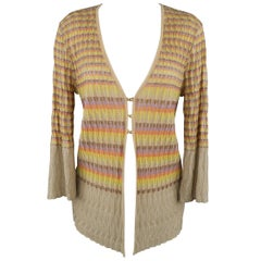 M MISSONI Size 14 Beige Metallic Rainbow Textured Knit Cardigan