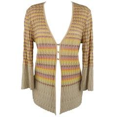 M MISSONI Size 14 Beige Metallic Rainbow Textured Knit Cardigan