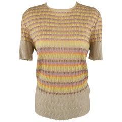 M MISSONI Size 14 Beige Rainbow Stripe Textured Metallic Knit Top