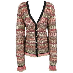 M MISSONI Size 14 Pink Green & Black Textured Wool Blend Cardigan