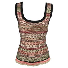 M MISSONI Size 14 Pink Green & Black Wool Blend Shell Vest Top
