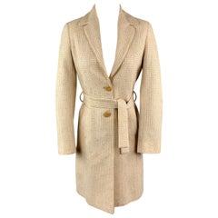 M MISSONI Size 2 Beige Cotton Blend Textured Woven Notch Lapel Belted Coat