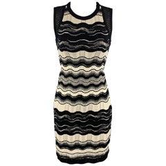 M MISSONI Size 2 Black & Beige Textured Stripe Knit Sleeveless Dress