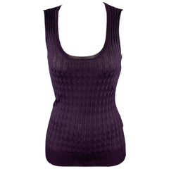 M MISSONI Size 2 Purple Knitted Textured Wool / Viscose Casual Sleeveless Top