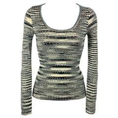 M MISSONI Size 4 Black & Turquoise Merino Wool Blend Pullover