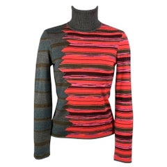 M MISSONI Size 6 Grey & Red Merino Color Block Wool / Acrylic Pullover