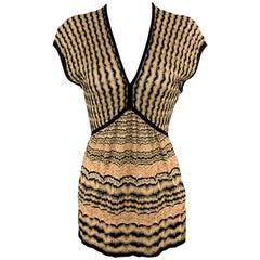 M MISSONI Size 8 Gold Pink & Black Pattern Knit V Neck Top