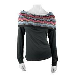 M MISSONI Size M Black Cotton Blend Off Shoulder Collar Pullover