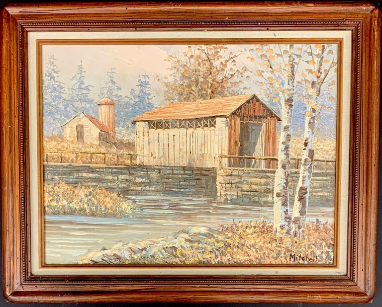 Textured Barn Landscape by Mitchell with COA from 1990 - Painting by M. Mitchell