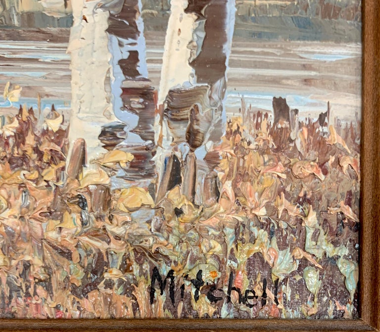 Textured Barn Landscape by Mitchell with COA from 1990 - American Impressionist Painting by M. Mitchell