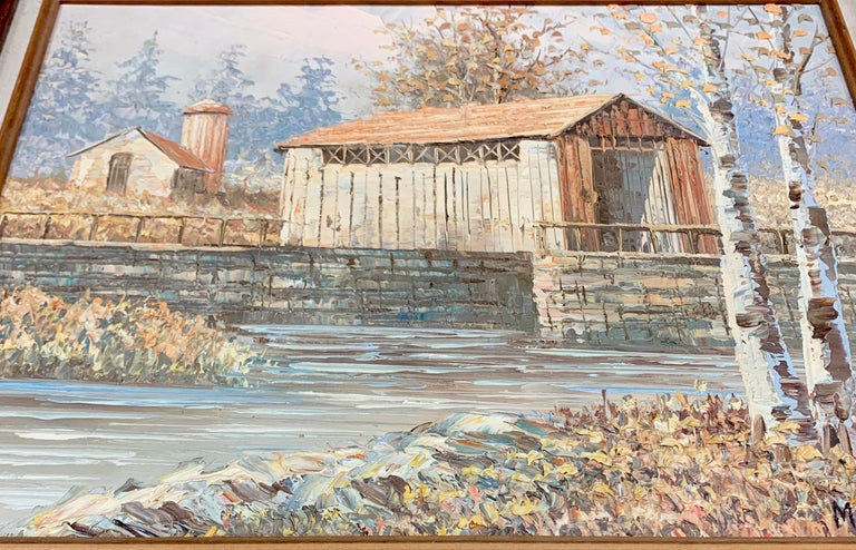 Textured Barn Landscape by Mitchell with COA from 1990 - Beige Landscape Painting by M. Mitchell