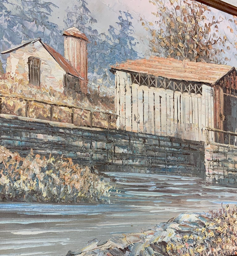 Gorgeous landscape done with pallet knife of a barn next to water. Signed by the artist Mitchell.