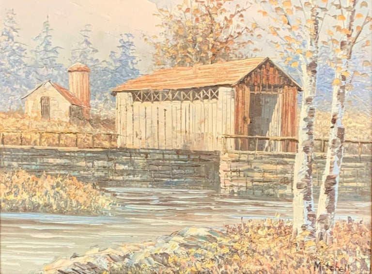 M. Mitchell Landscape Painting - Textured Barn Landscape by Mitchell with COA from 1990