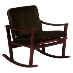 M Nissen for Pastoe Mid-Century Teak Spade Dark Green Rocking Chair, 1960s